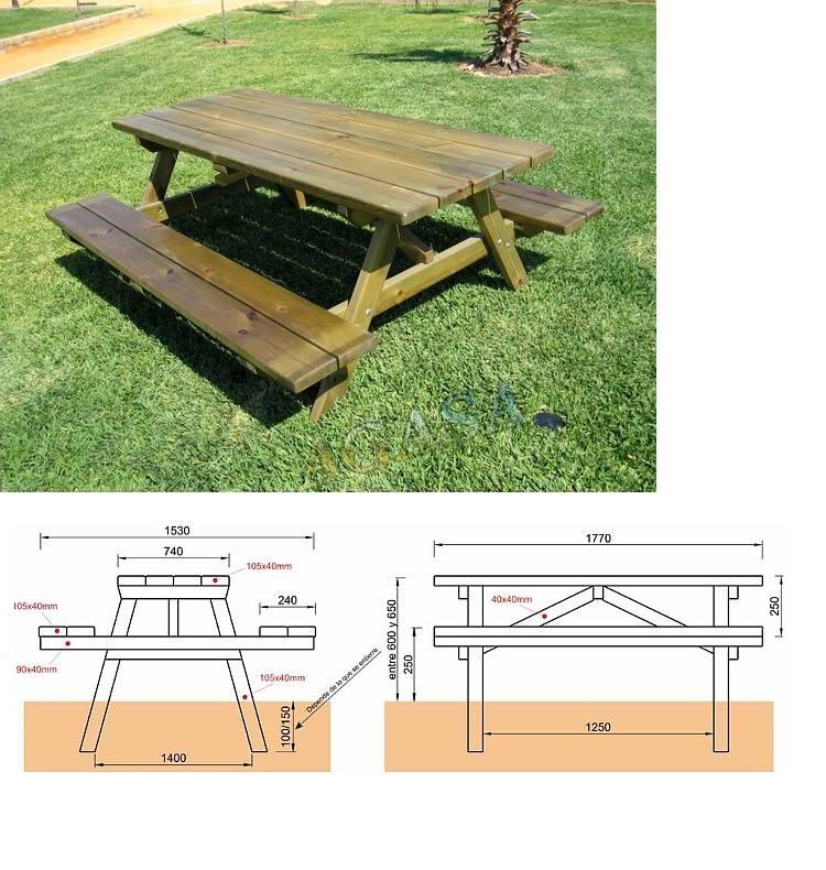 Mesas picnic columpios y accesorios mobiliario urbano y de for Mobiliario de jardin de madera